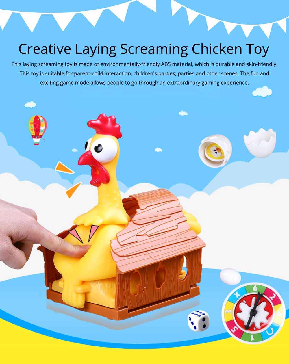Funny Screaming Egg Laying Chicken Party Games Toy, Parent-child Puzzle Lucky Chicken Sound Toy 0