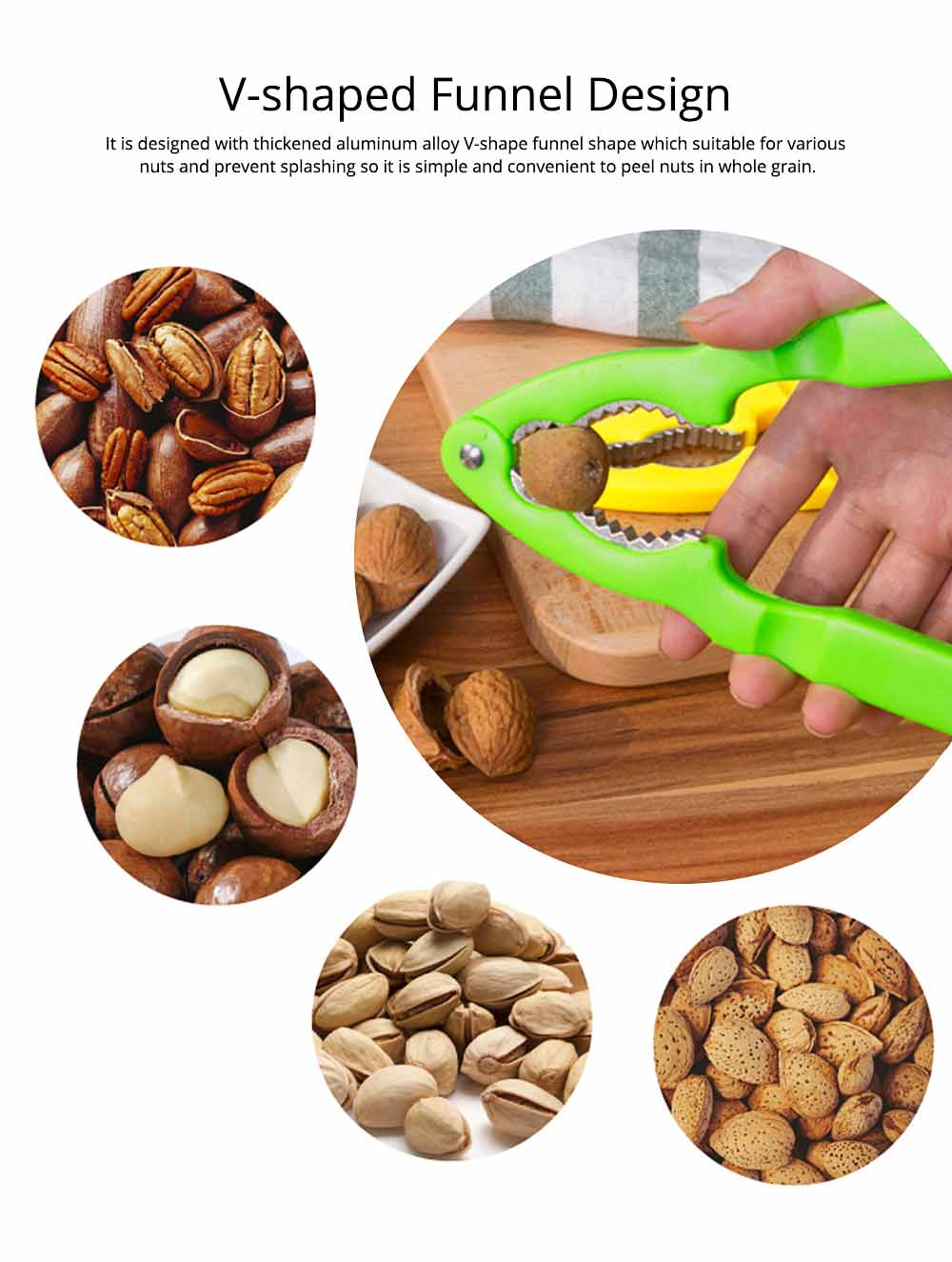 Zinc Alloy Nutcracker for Various Nuts, Multifunctional Walnut Clip  with 180° Open Design and ABS Handles 3