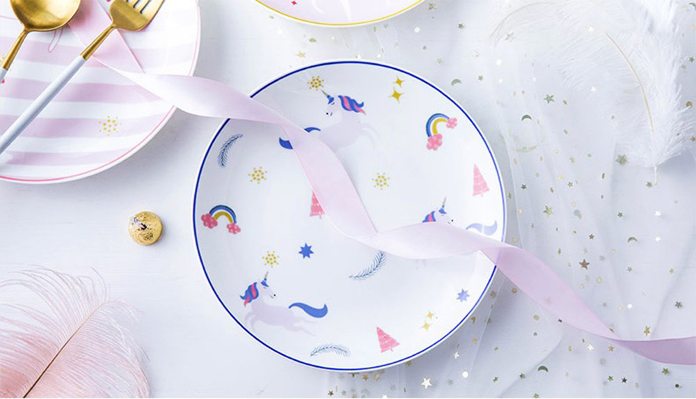 Unicorn Dinner Plates, Bone China Rainbow Steak Plate  6