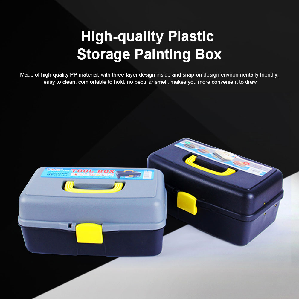 High-quality Plastic Painting Storage Box, Black Storage Painting Container for Drawer 0
