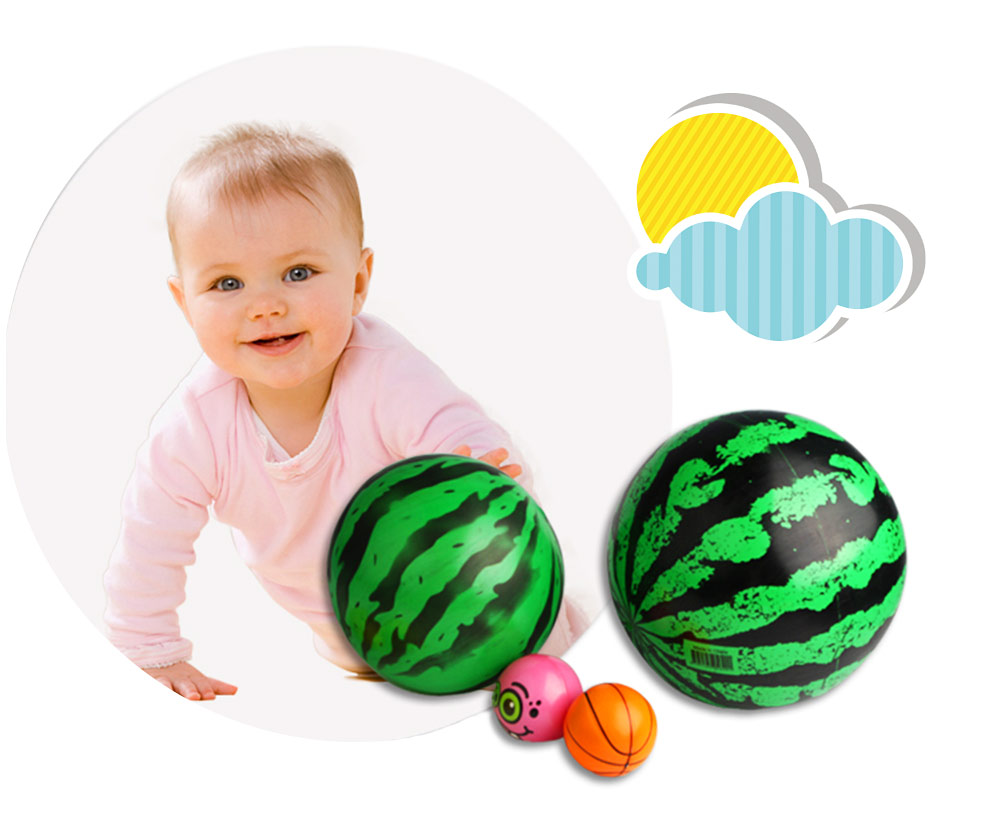 Watermelon Rubber Bounce Ball, Inflatable Elastic Punch Parent-child Interaction Ball with Handle 5