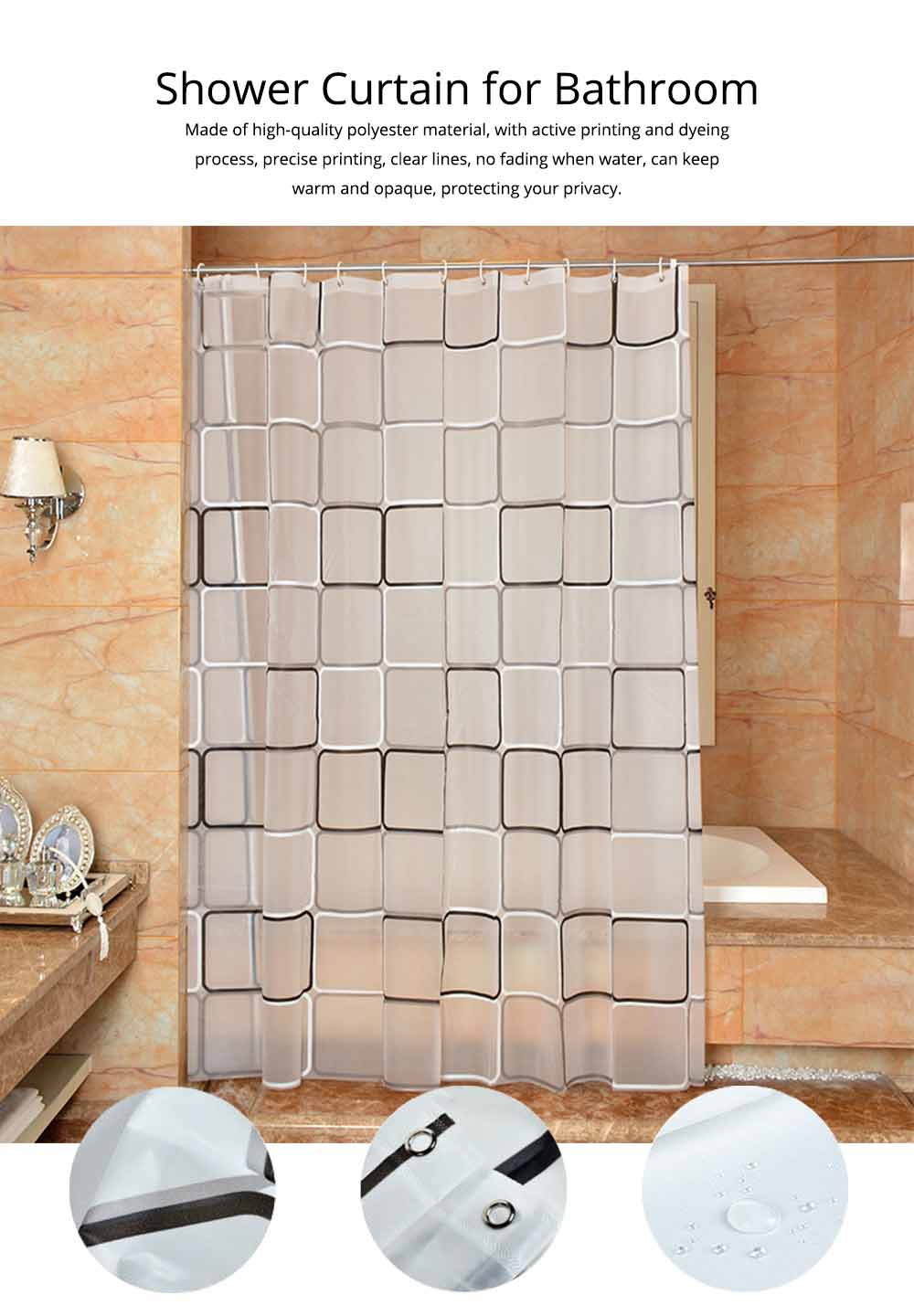 Checkered Bathroom Shower Curtain PEVA Environmental Protection Bathroom Curtain 0