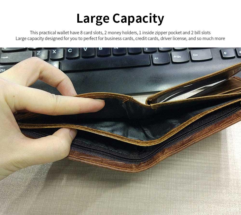 Slim Genuine Leather Mens Wallet - Crocodile Pattern 2