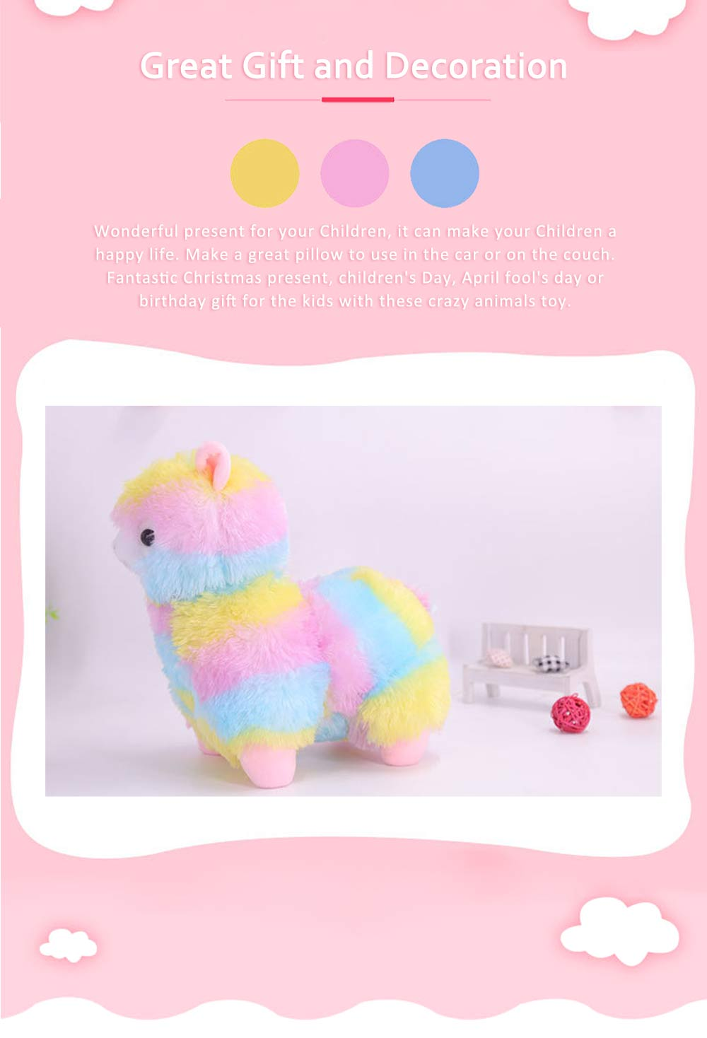Colorful Grass Mud Horse Toy Doll, Stuffed Plush Animal Toys For Friends and Lovers 4