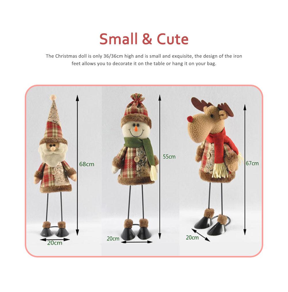Fabric Santa Claus Figurine, Iron Feet Standing Santa Claus Ornaments 1