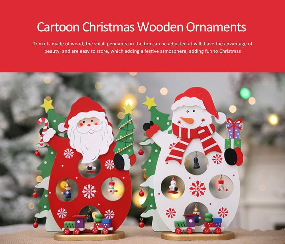 Cartoon Old Man Snowman Desktop Decoration, New Christmas Wooden Decorations 0