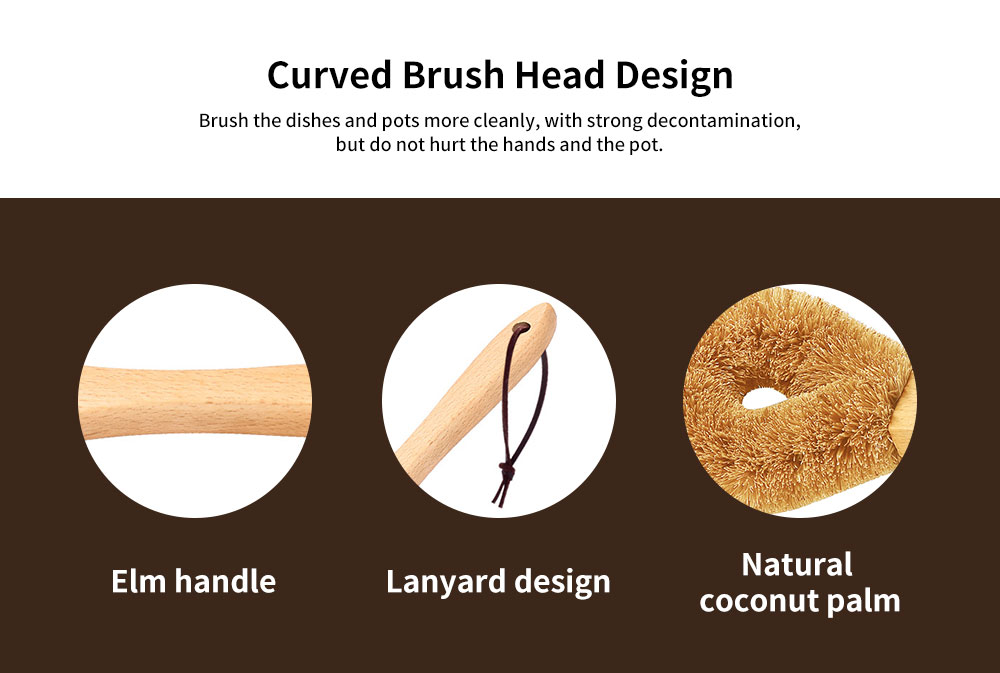 Dish washing Brush With Long Handle, Brown Coconut Brush Pot Brush Cleaner  2