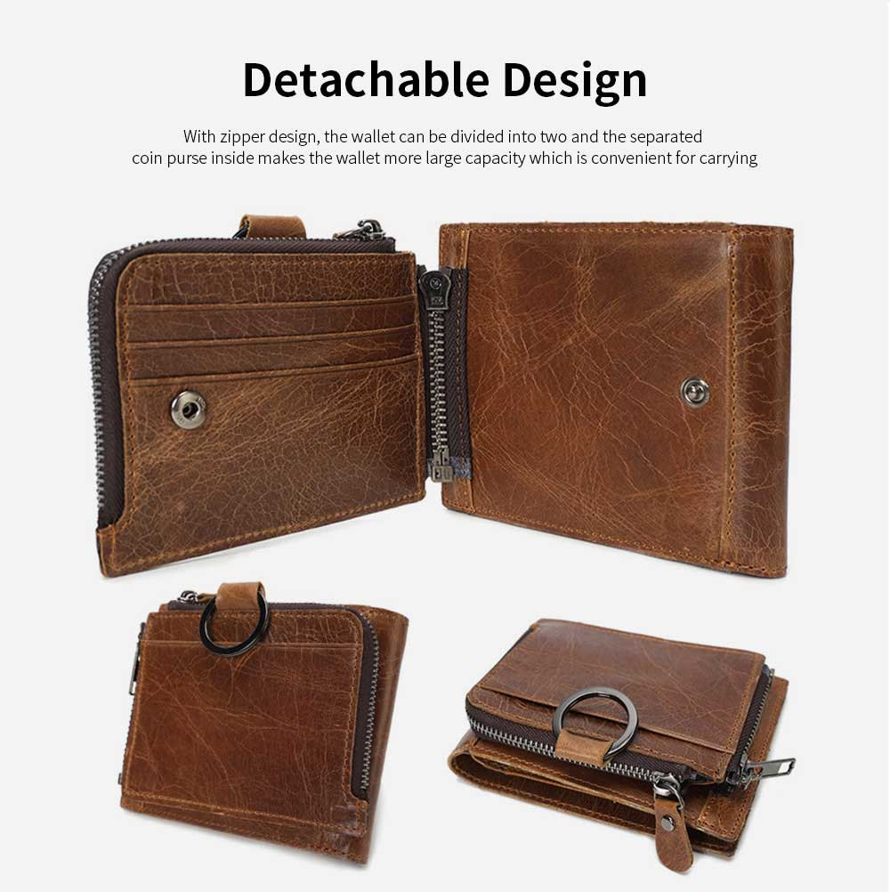 Detachable Wallet with Multi-cards, Wear-resistant First Layer Leather Purse for Men 10