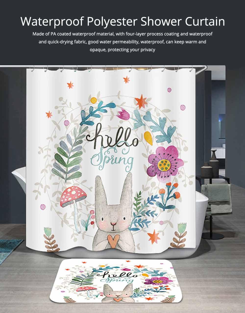 Cartoon Rabbit Shower Curtain, Waterproof American Polyester Shower Curtain 0