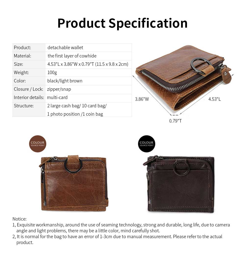 Detachable Wallet with Multi-cards, Wear-resistant First Layer Leather Purse for Men 13