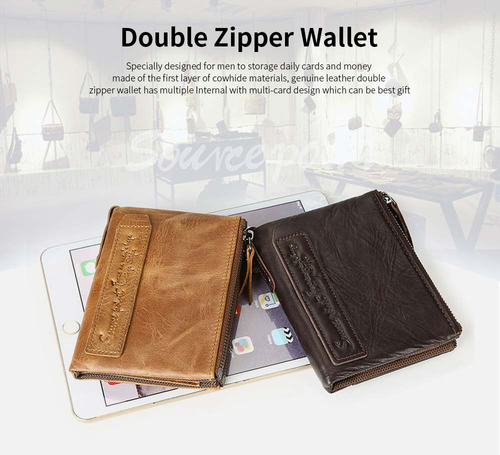 Double Zipper Wallet with Multi-card, First Layer Leather Money and Card Holder Purse for Men 0