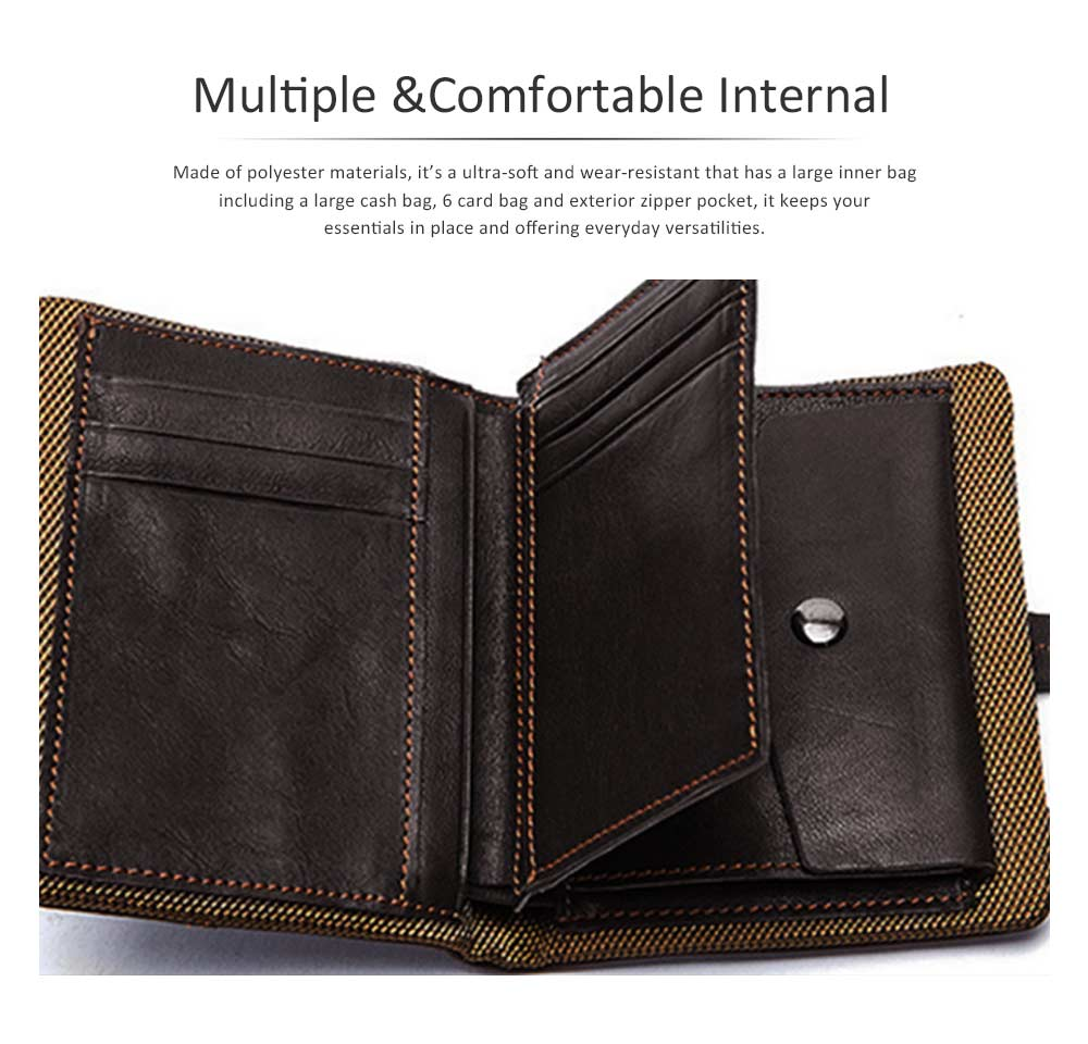 Retro Motorcycle Leather Zipper Purse, Men's Wear-resistant Leather Short Wallet with Stitching and Tri-fold Design 1