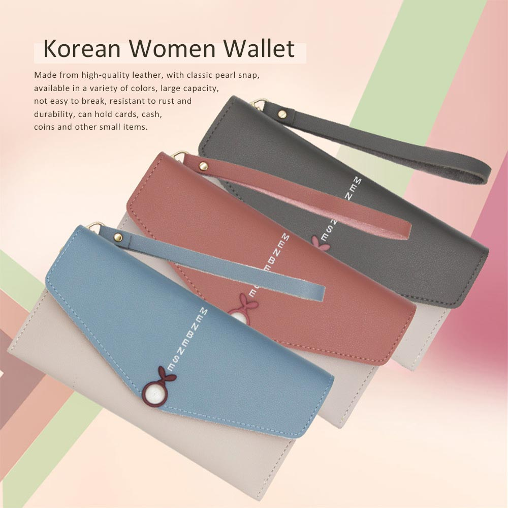 Mid Length Wallet, Stylish Pearl Shape Snap Leather Purse 0