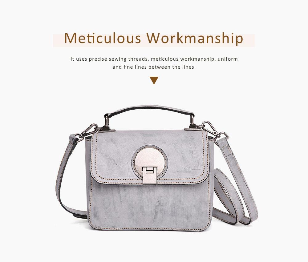 Slim Square Handbag, Retro Fog Wax Leather Handbag 2