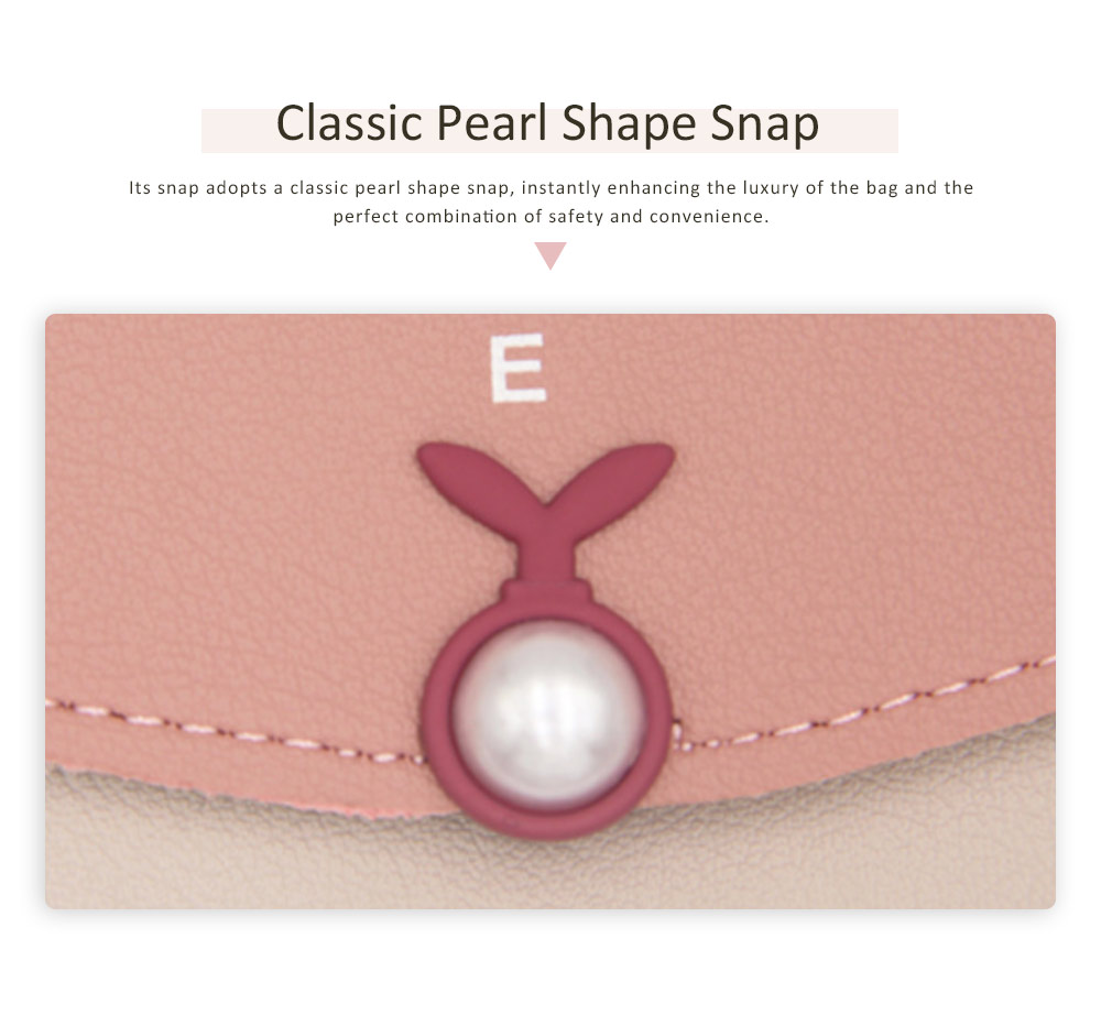 Mid Length Wallet, Stylish Pearl Shape Snap Leather Purse 5