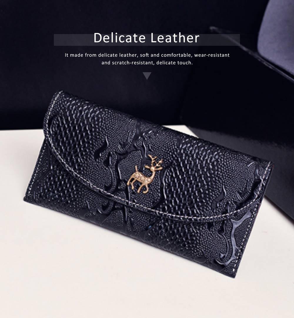 Snake Leather Purse, Sleek Minimalist Buckle Wallet For Ladies 3
