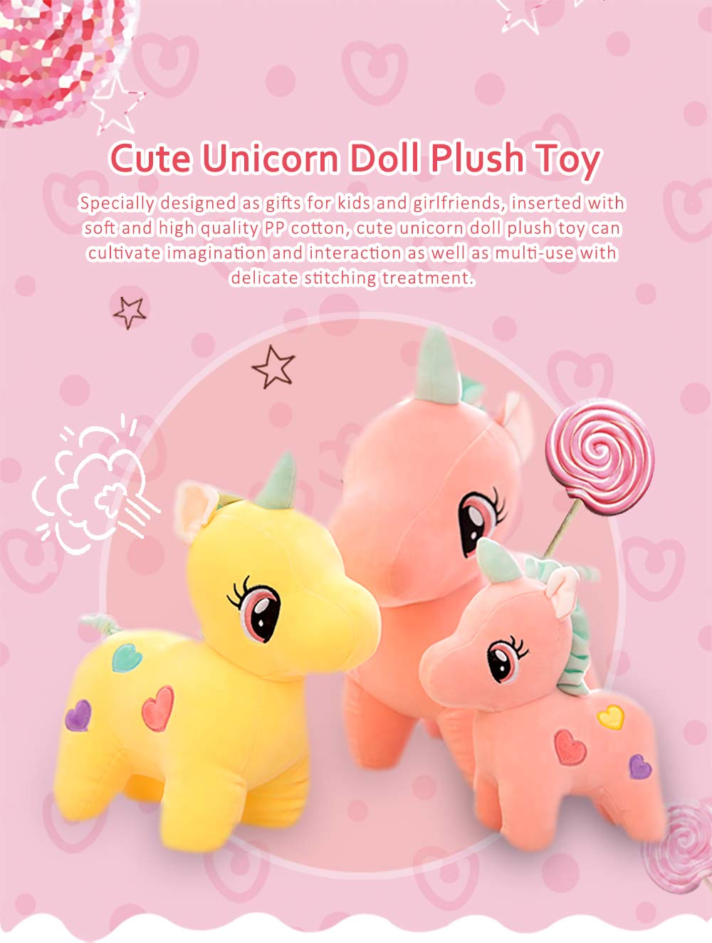Cute Unicorn Doll Plush Toy, Instagram Famous Doll Children Doll Pillow 0