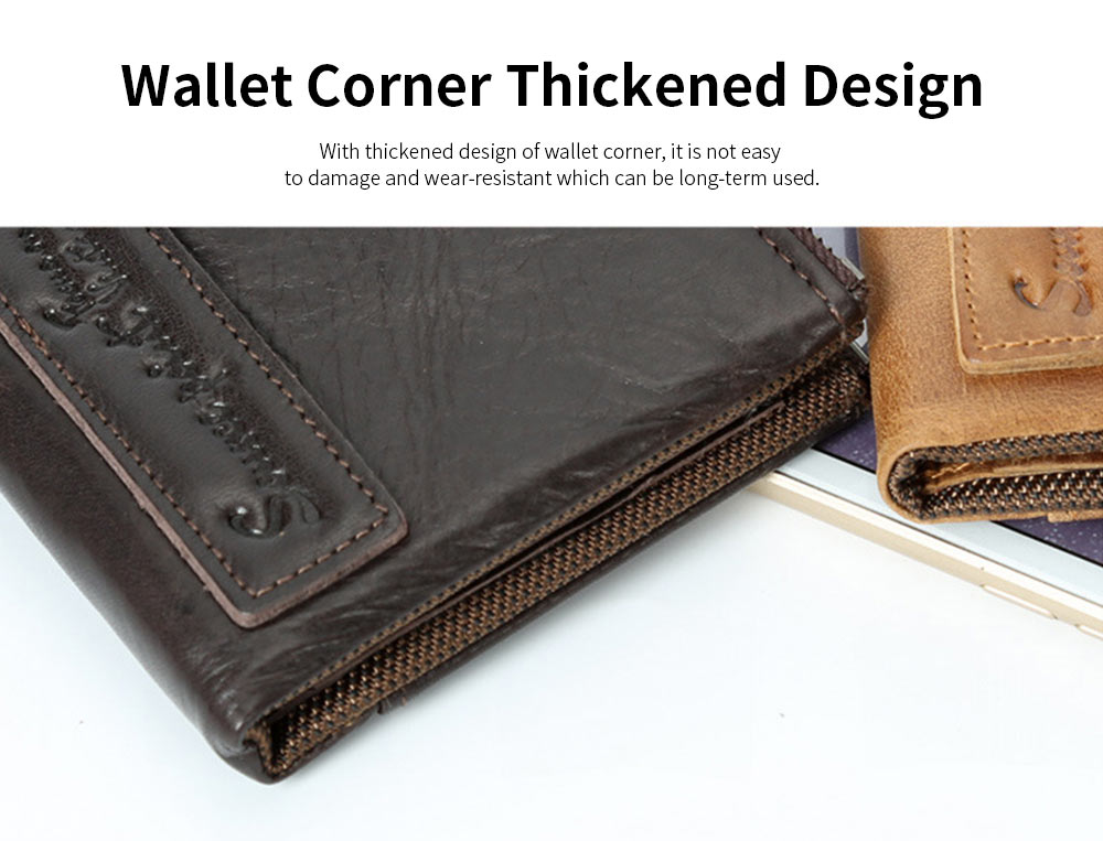 Double Zipper Wallet with Multi-card, First Layer Leather Money and Card Holder Purse for Men 4