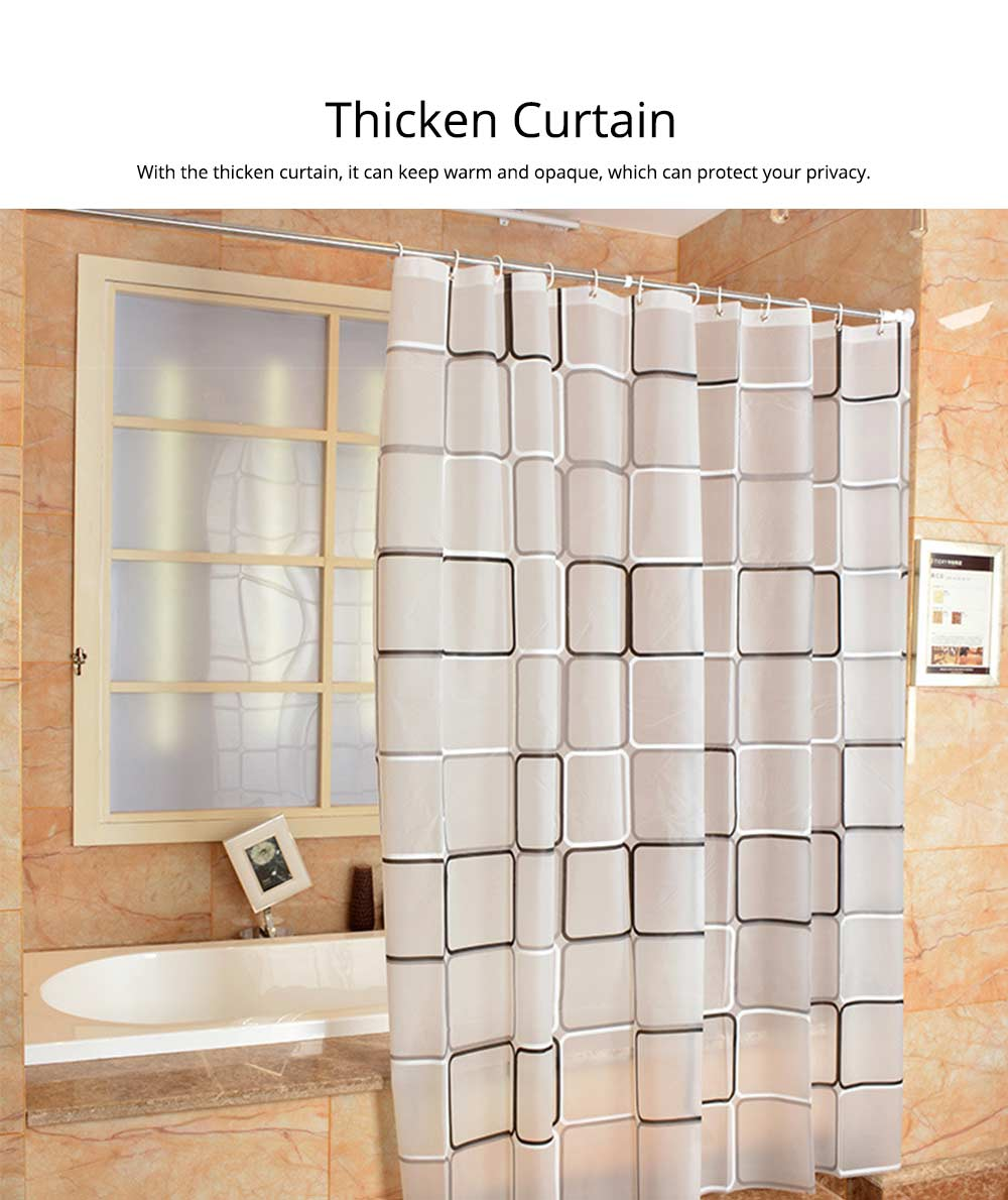 Checkered Bathroom Shower Curtain PEVA Environmental Protection Bathroom Curtain 3