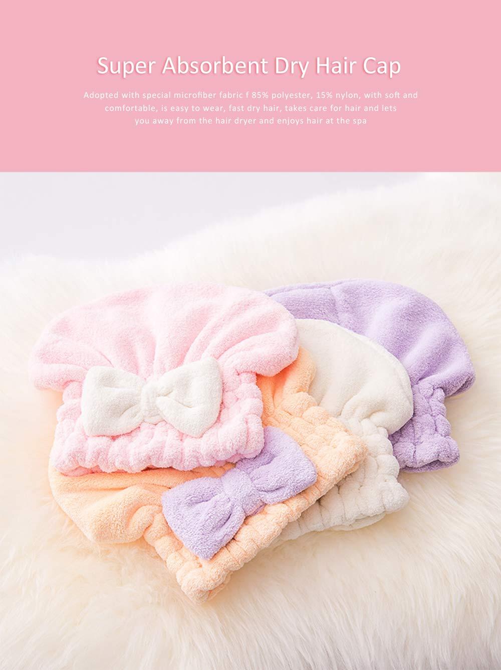 Super Absorbent Hair Drying Cap, Bow Absorbent Coral Velvet Magic Shower Cap 0