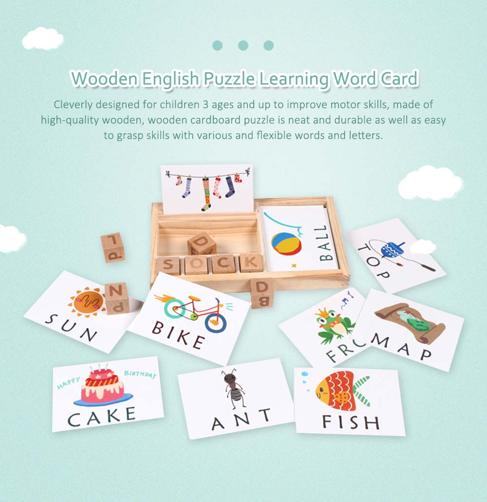 Wooden English Cardboard Puzzle, English Enlightenment Early Learning Word Card 0