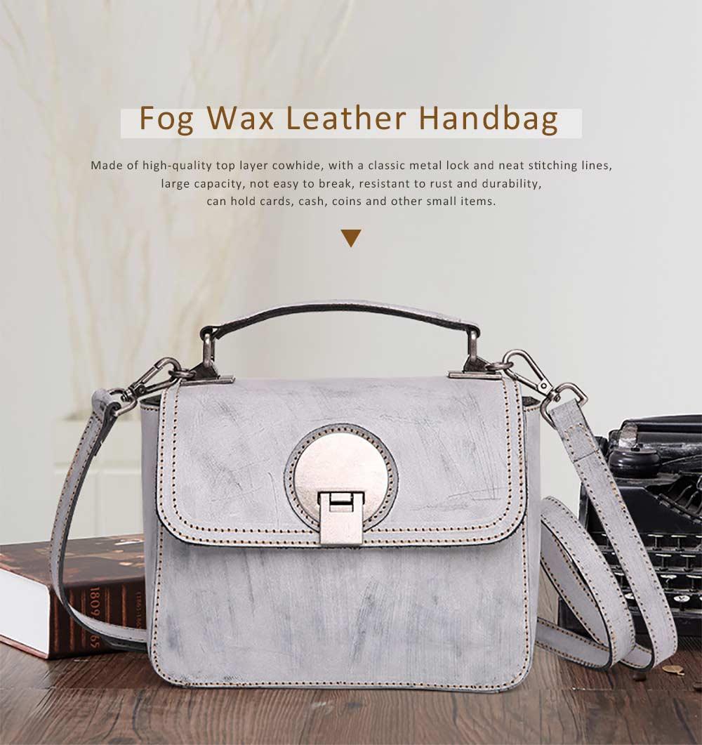 Slim Square Handbag, Retro Fog Wax Leather Handbag 0