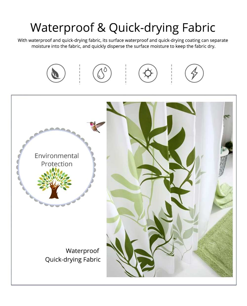 Plant Printing Shower Curtain, Polyester Waterproof and Mildew-proof Shower Curtain 6