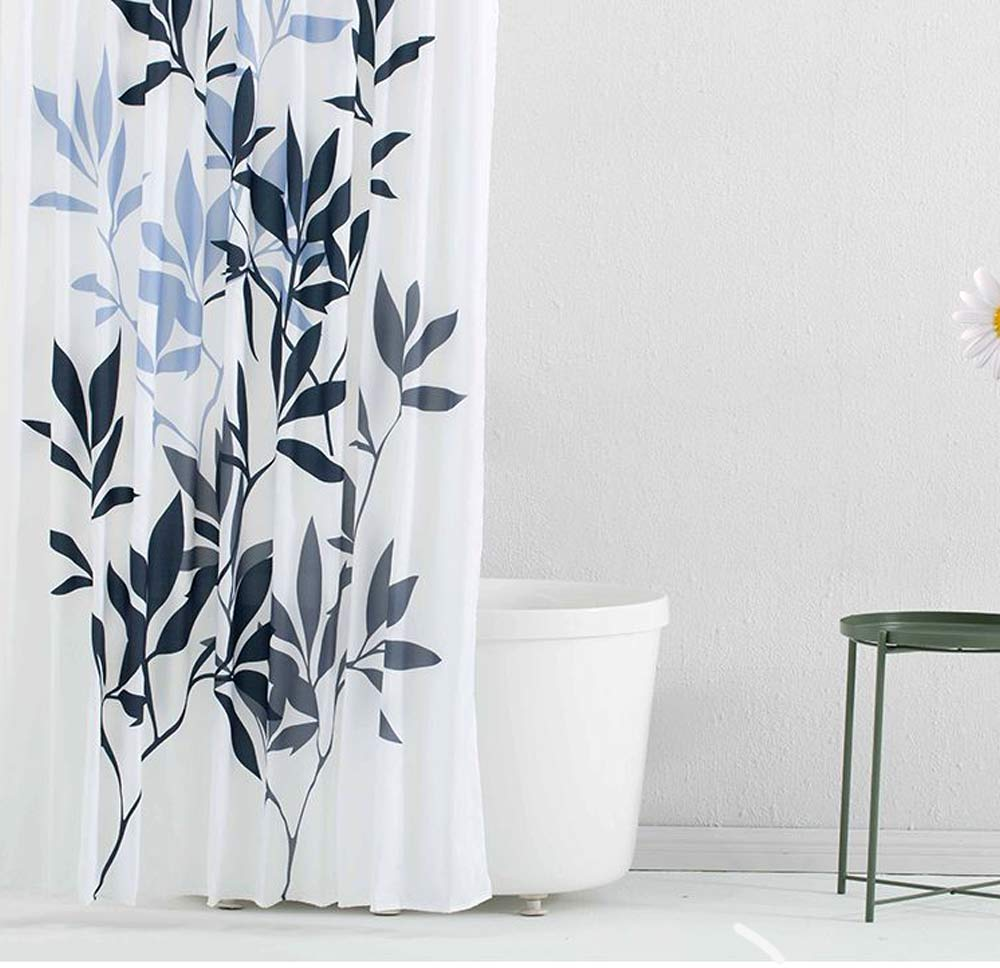 Leaf Print Shower Curtain Polyester Mildew-Proof  Shower Curtain 0