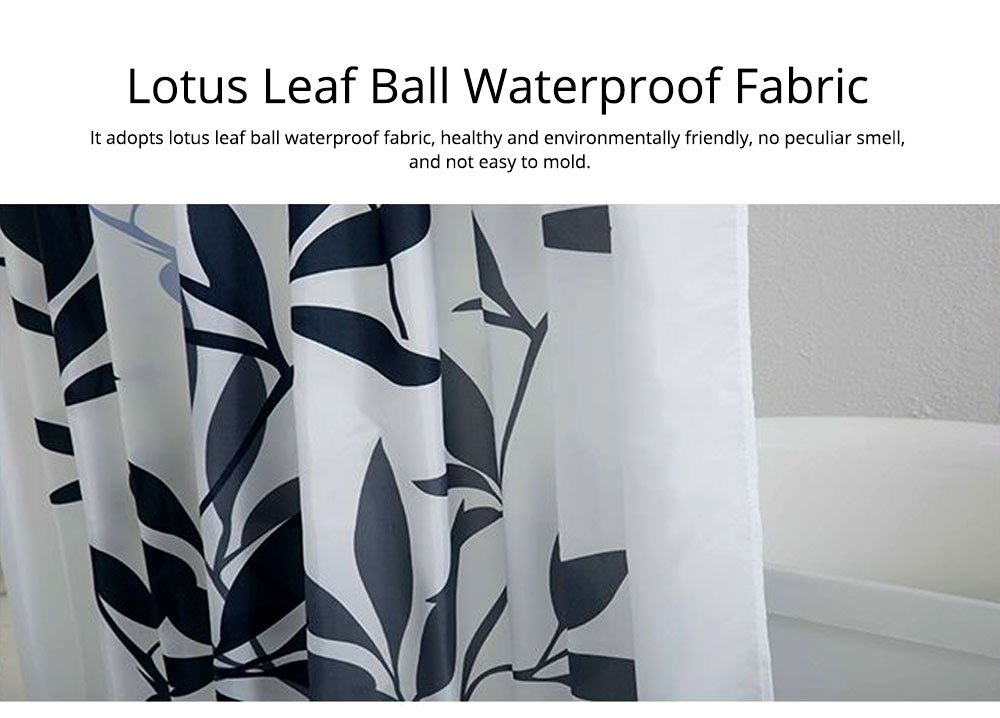 Leaf Print Shower Curtain Polyester Mildew-Proof  Shower Curtain 2