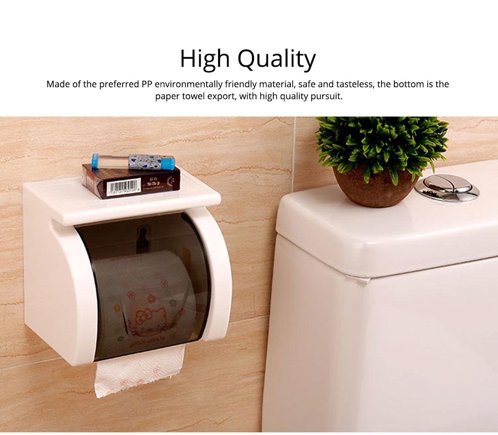 Bathroom Waterproof Toilet Tray Holder, Tissue Box Shelf, Punch-free Roll Holder 1