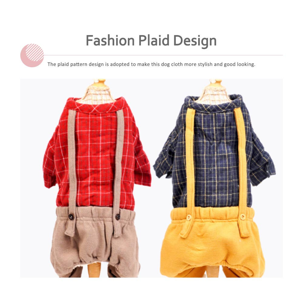 Plaid Overalls Four-leg Pet Clothes, Warm Soft Cotton Puppy Pet Coat Apparel for All Breeds 3