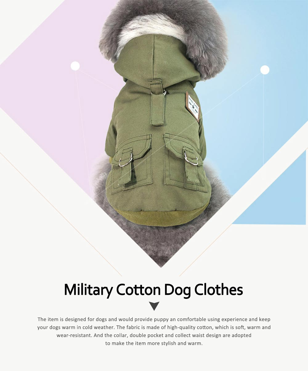 Small Dog Army Clothes, Fashion Warm Military Cotton Small Dog Clothes 0