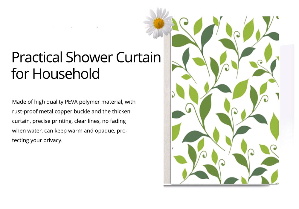 Plant Printing Shower Curtain, Polyester Waterproof and Mildew-proof Shower Curtain 1