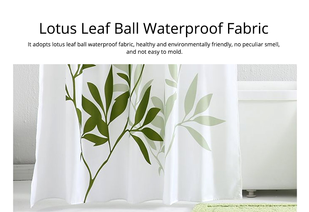 Plant Printing Shower Curtain, Polyester Waterproof and Mildew-proof Shower Curtain 2
