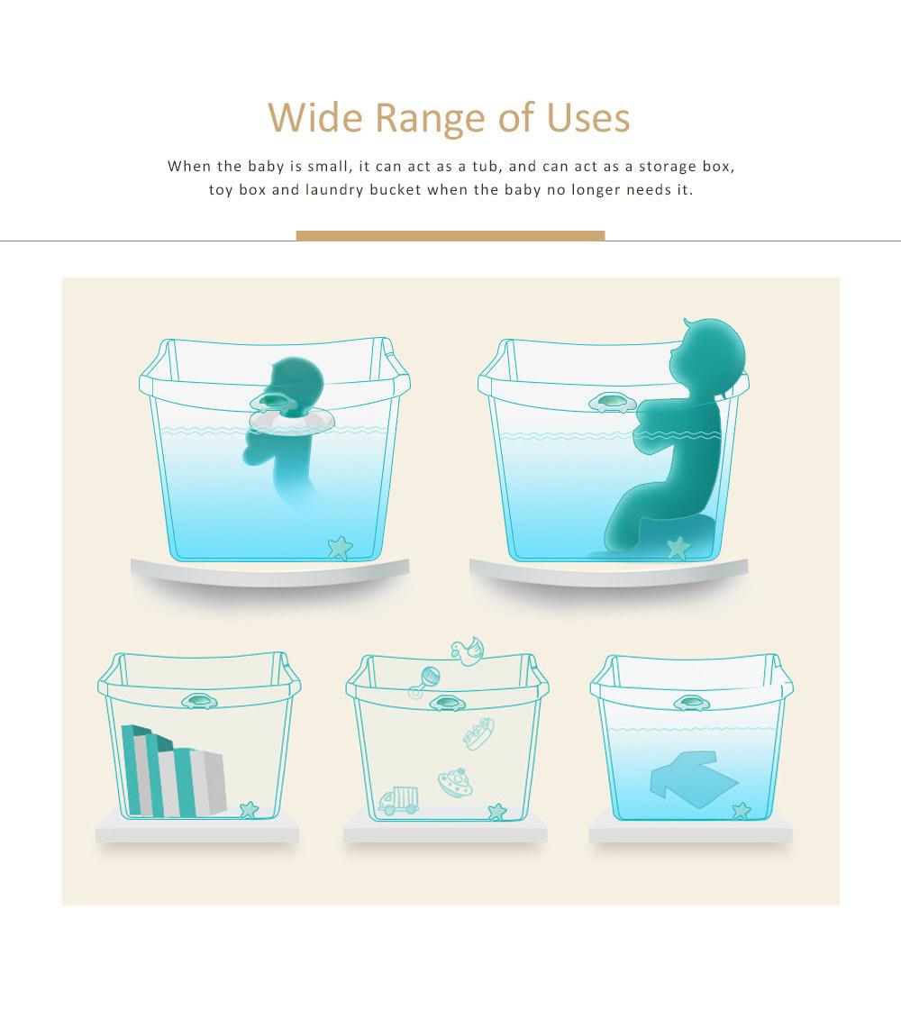 Foldable Child Bath Tub Plus Size Baby Bath Tub with Shelf 6