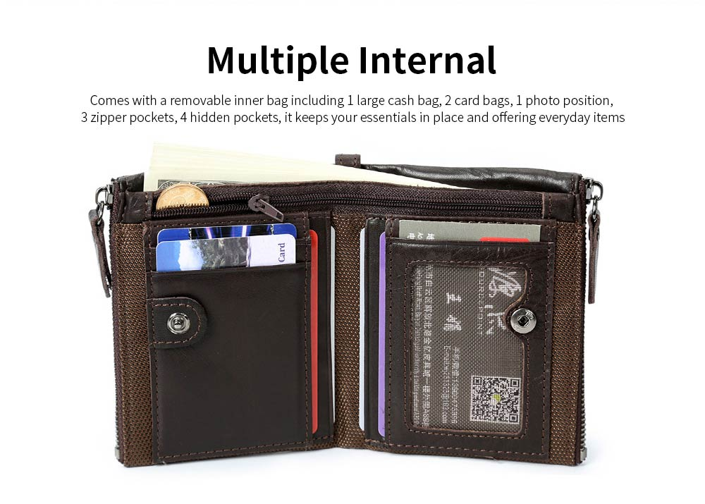 Double Zipper Wallet with Multi-card, First Layer Leather Money and Card Holder Purse for Men 3