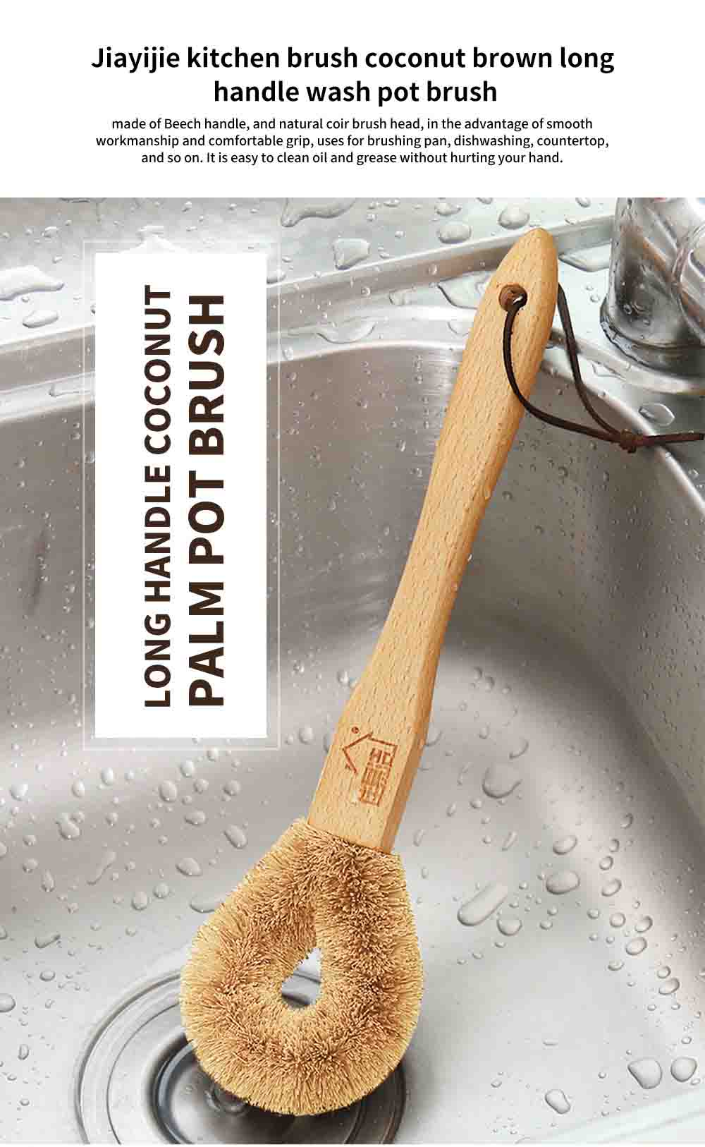 Dish washing Brush With Long Handle, Brown Coconut Brush Pot Brush Cleaner  0