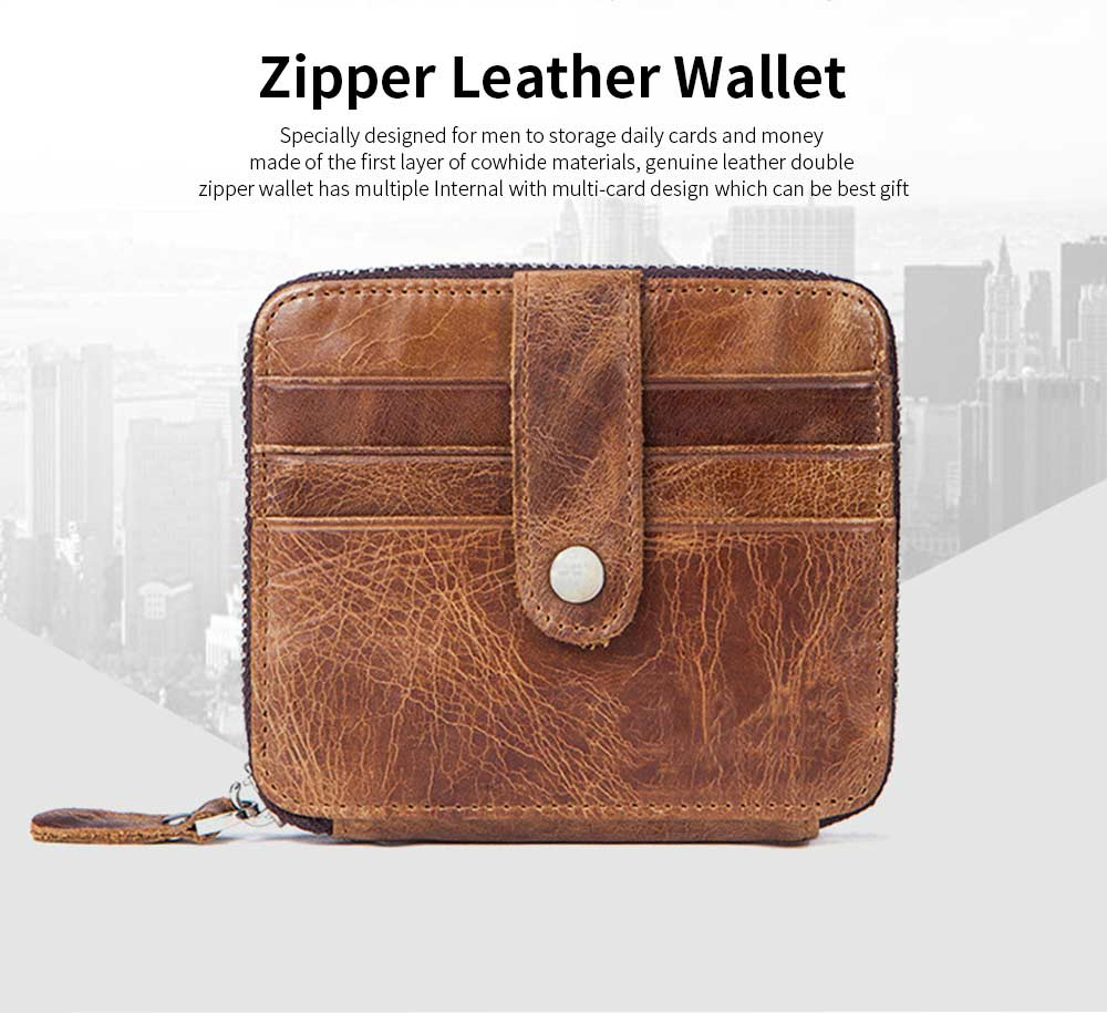 Zipper Leather Wallet with Metal Buckle and Multi-card, Retro Money and Card Holder Purse for Men 7