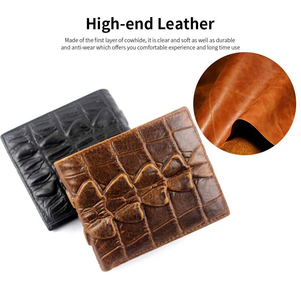 Slim Genuine Leather Mens Wallet - Crocodile Pattern 1