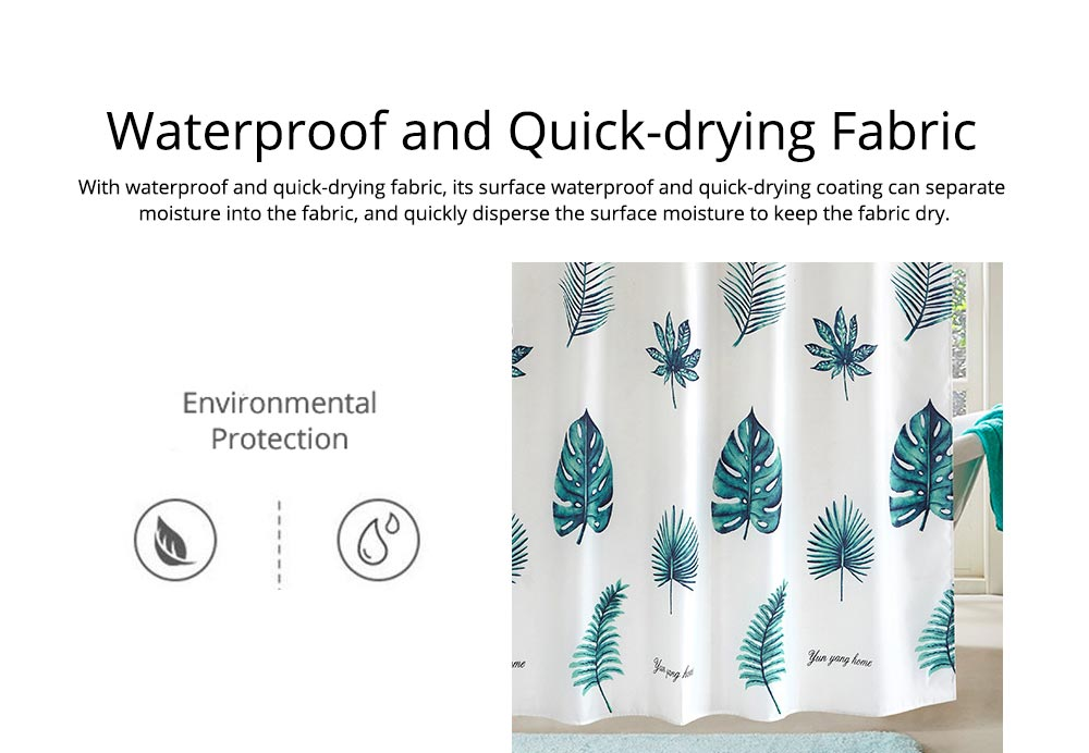 Green Leaf Shower Curtain Bathroom Shower Curtain with Sending Hooks and Increasing Plumb Bobs 5