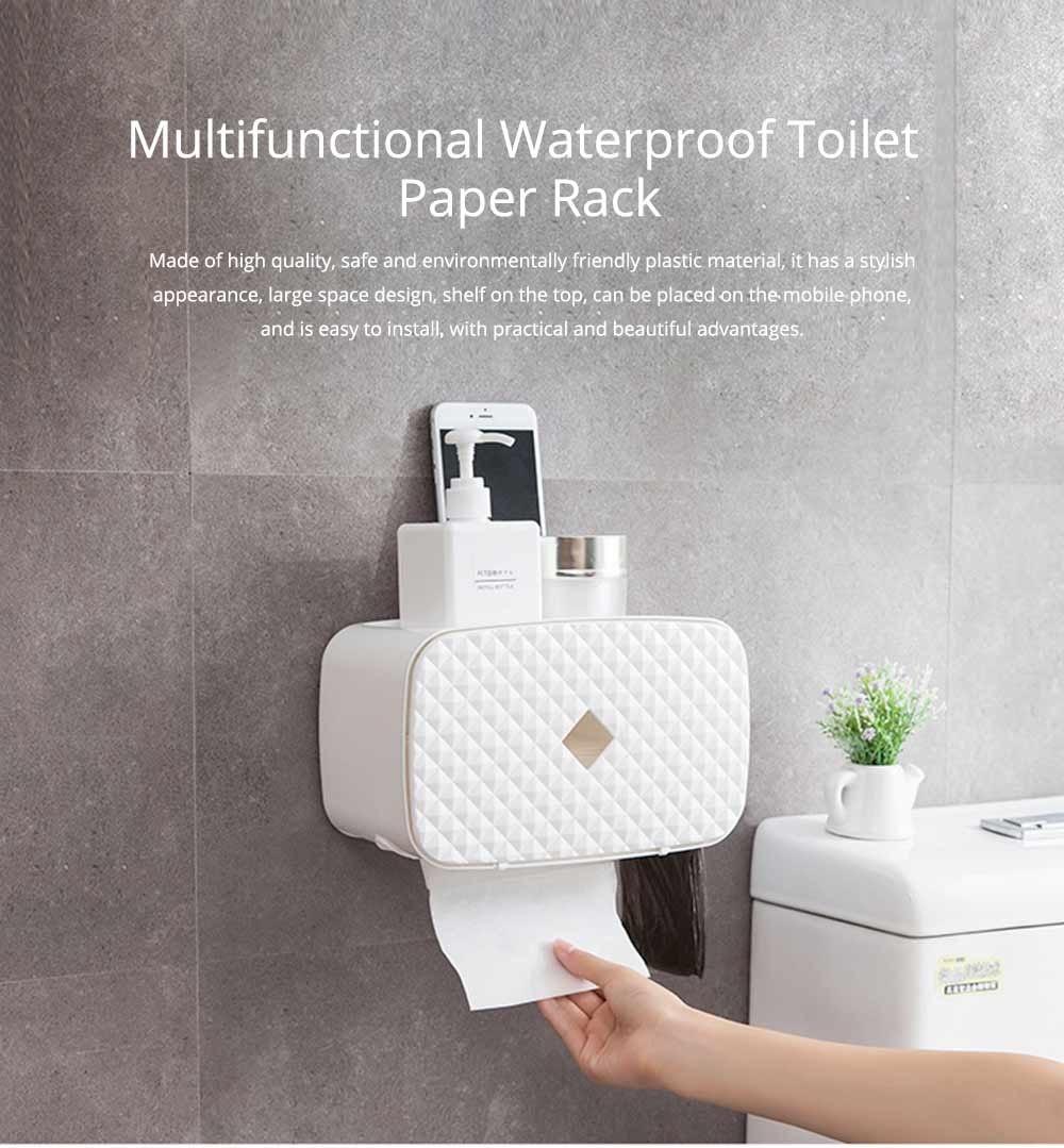 Bathroom Paper Hand Towel Tray, Waterproof Toilet Paper Rack, Punch-Free 0