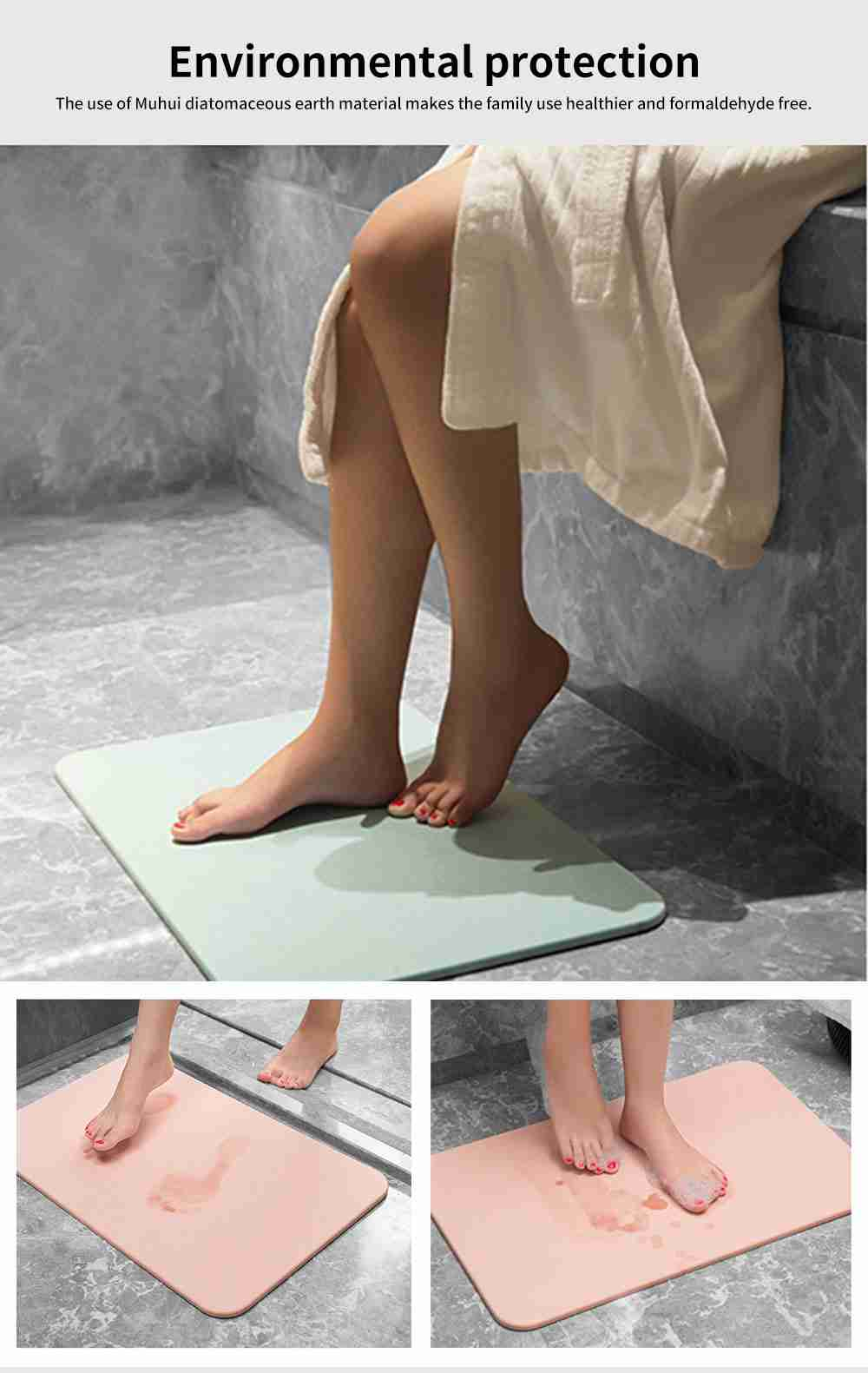 Diatomaceous Earth Mat, Water Absorption Anti-slip Bath mats 3