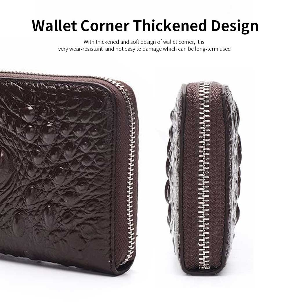 Men's Crocodile Pattern Long Wallet with Metal Zipper, Genuine Leather Clutch Business Bag 12
