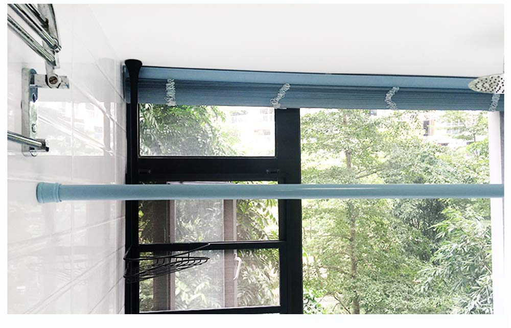 Punch-free Shower Curtain Rod Household Paint Full Spring Telescopic Rod for Bathroom 11
