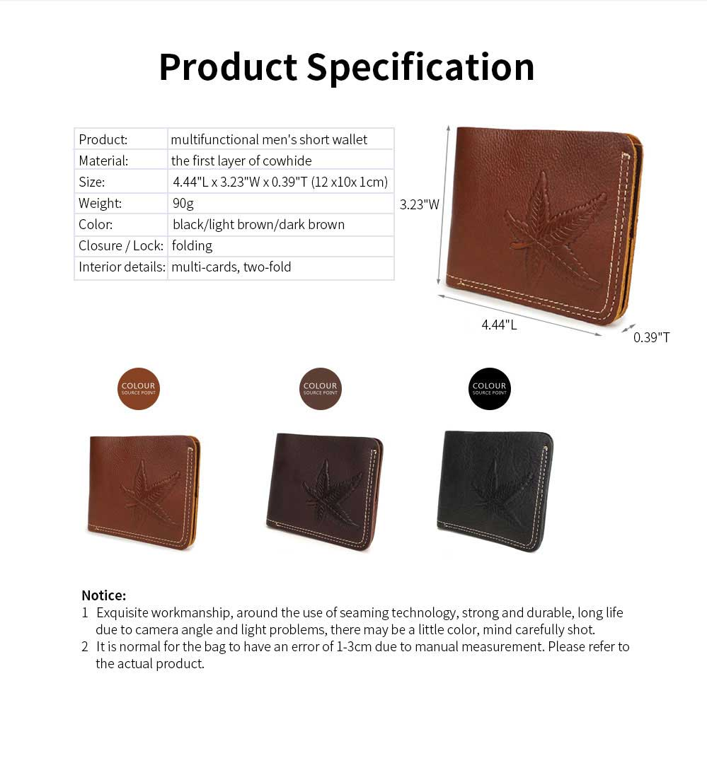 First Layer Genuine Leather Short Wallet for Men with Multi-cards and Two-fold 6