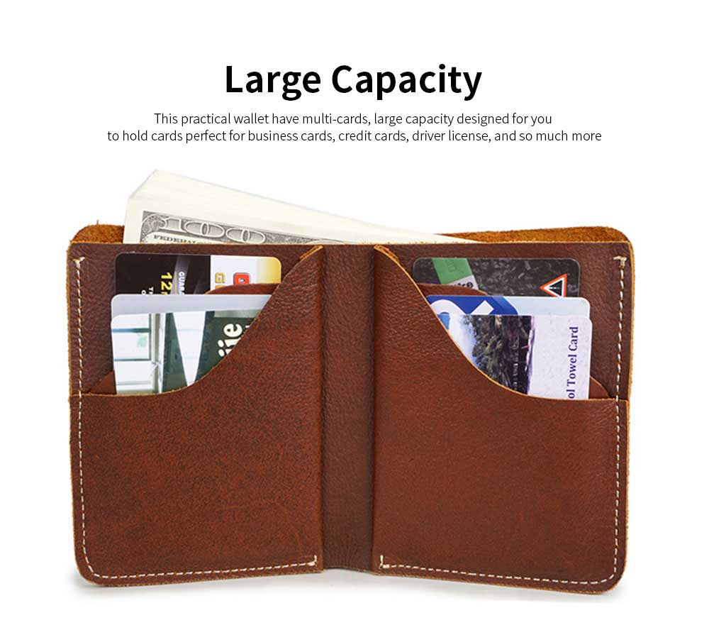 First Layer Genuine Leather Short Wallet for Men with Multi-cards and Two-fold 2