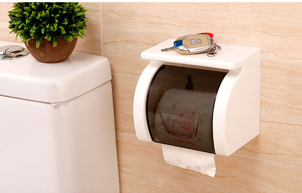 Bathroom Waterproof Toilet Tray Holder, Tissue Box Shelf, Punch-free Roll Holder 2