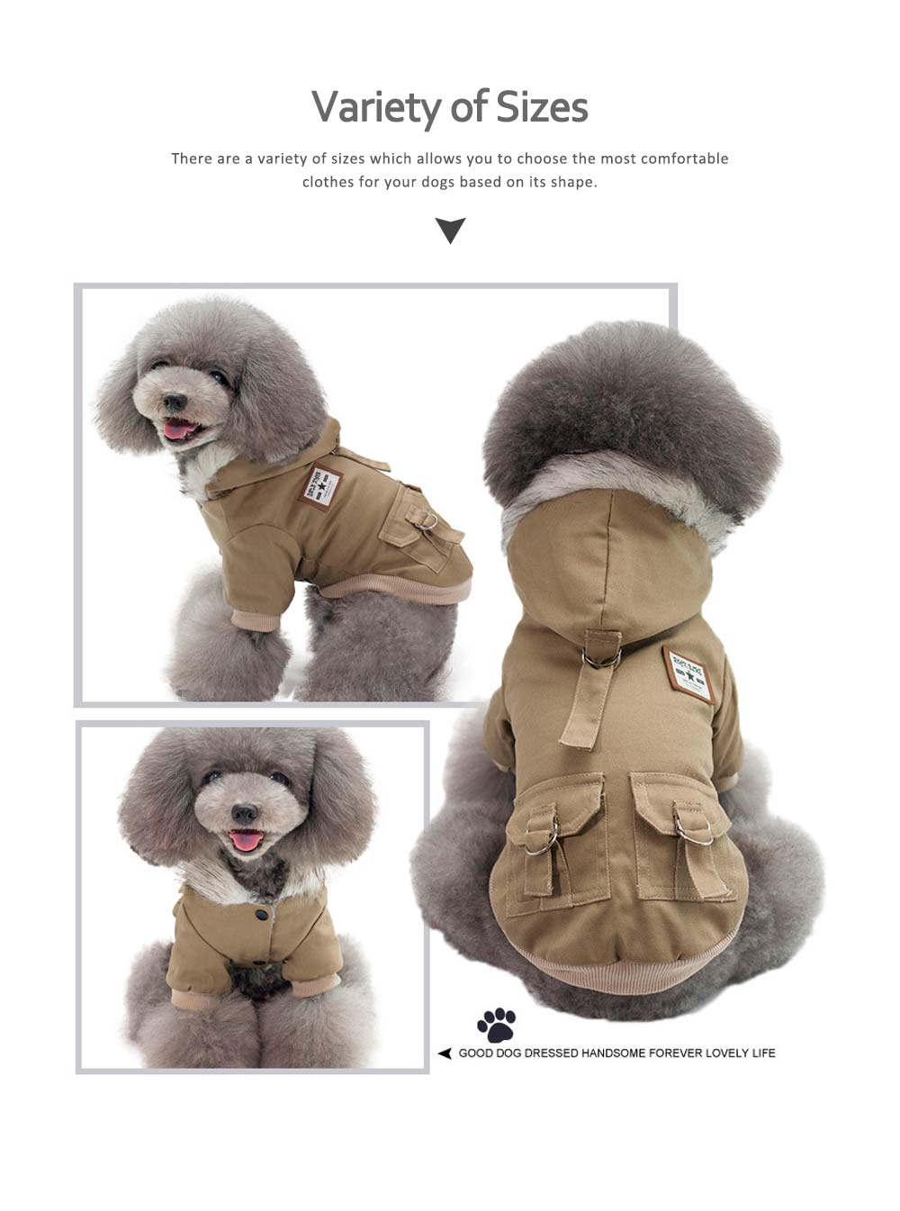 Small Dog Army Clothes, Fashion Warm Military Cotton Small Dog Clothes 5
