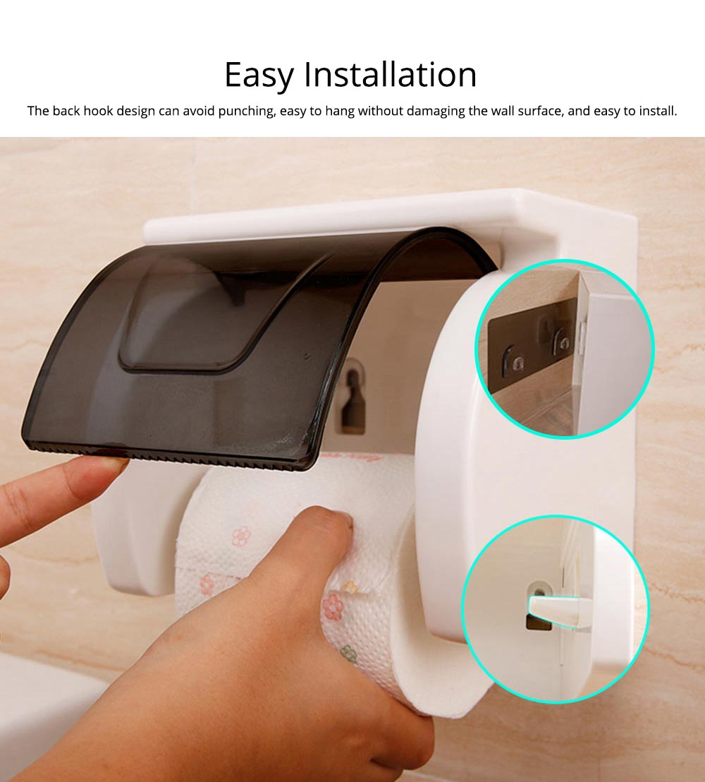 Bathroom Waterproof Toilet Tray Holder, Tissue Box Shelf, Punch-free Roll Holder 7