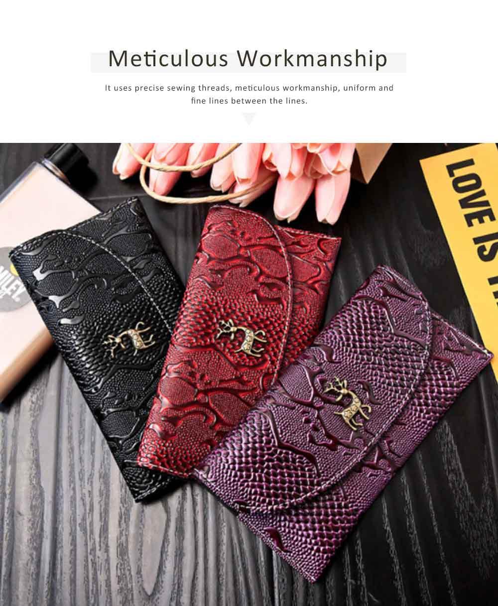 Snake Leather Purse, Sleek Minimalist Buckle Wallet For Ladies 1